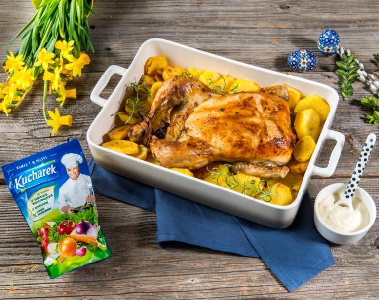 Pieczony kurczak zagrodowy z ziemniaczanymi talarkami